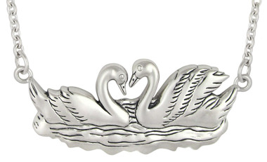 Sterling Silver Swans In Love Necklace