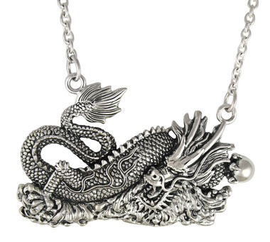 Sterling Silver Chinese Luck Dragon Necklace