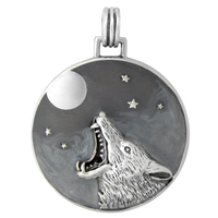 Sterling Silver Howling Werewolf Pendant