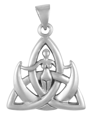 Sterling Silver Triquetra Moon Goddess Pendant