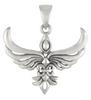 Sterling Silver Fleur De Lis Phoenix Pendant