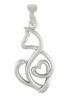 Sterling Silver Cat Love Heart Pendant