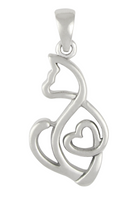 Sterling Silver Cat Love Heart Pendant