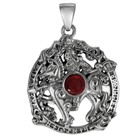 Sterling Silver Odin Sleipnir Pendant with Garnet