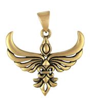 Bronze Fleur De Lis Phoenix Pendant