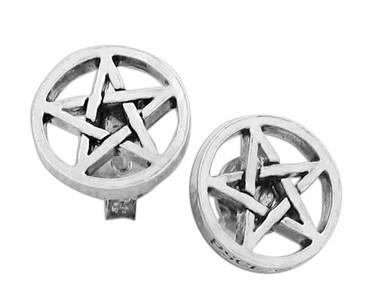 Sterling Silver Wiccan Pentacle Post Stud Earrings