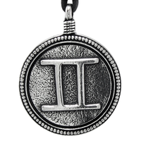 Gemini Zodiac Sign Pewter Pendant Necklace