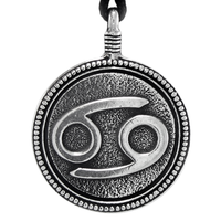 Cancer Zodiac Sign Pewter Pendant Necklace