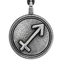 Sagittarius Zodiac Sign Pewter Pendant Necklace