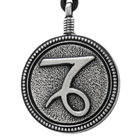 Capricorn Zodiac Sign Pewter Pendant Necklace