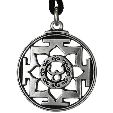 Sri Trisula Yantra - Hindu Pewter Pendant Necklace
