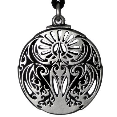 Phoenix Fire Bird Pewter Pendant Necklace