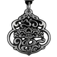 Lotus & The Aum Pendant Pewter Pendant Necklace