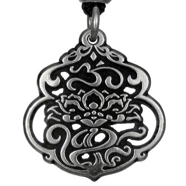 Lotus & The Aum Pendant Pewter Pendant Necklace