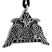 Valknut Raven Warrior - Pewter Pendant Necklace