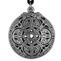 Dragon Shield Celtic Knot Pewter Pendant Necklace