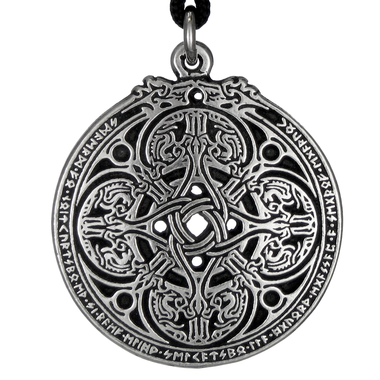 Dragon Shield Celtic Knot Pewter Pendant Necklace