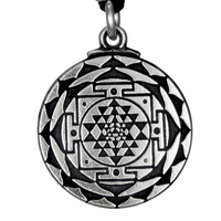 Sri Yantra Great Wealth Hindu Pewter Pendant Necklace