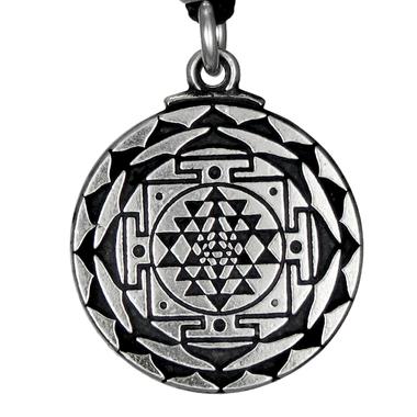 Sri Yantra Great Wealth Hindu Pewter Pendant Necklace