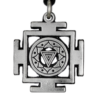 Kali Yantra of Transformation Hindu Pewter Pendant Necklace