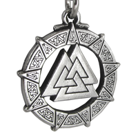 Valknut Warrior's Knot Pewter Pendant Necklace