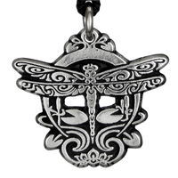 Art Nouveau Dragonfly Pewter Pendant Necklace