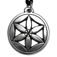 Pewter Flower of Aphrodite Pewter Pendant Necklace