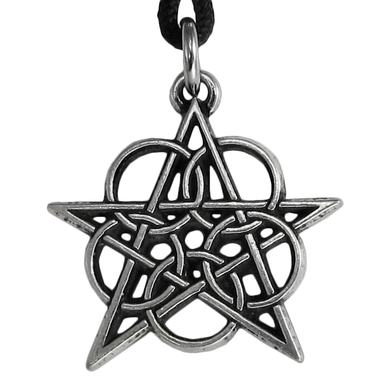 Pewter Ringed Pentacle Pewter Pendant Necklace