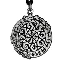 Invincibility in Battle Aegishjalmur Rune Pewter Pendant Necklace