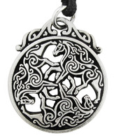 Pewter Celtic Horse Triskele Necklace