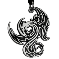 Gothic Dragon Pendant Pewter Pendant Necklace