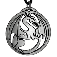 Draco Dragon Pendant Pewter Pendant Necklace