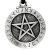 Large Rune Pentacle Pewter Pendant Necklace