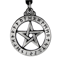 Small Rune Alphabet Pentacle Pewter Pendant Necklace