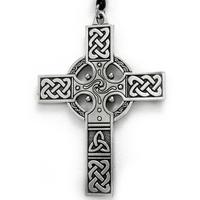 Large Celtic Knotwork Irish Cross Pewter Pendant Necklace