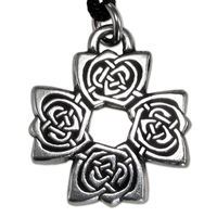 Rose Cross Pewter Pendant Necklace