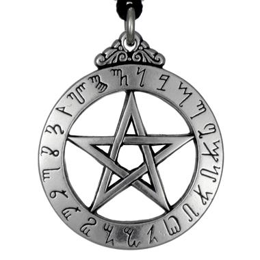 Large Theban Alphabet Pentacle Pewter Pendant Necklace