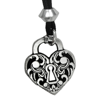 Victorian Heart Lock Pewter Pendant Necklace