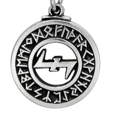 Wolfsangel Elder Futhark Rune Pewter Pendant Necklace