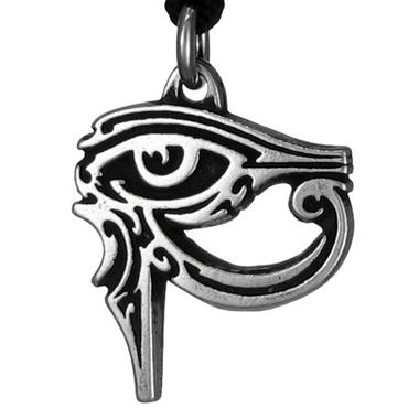 Gothic Egyptian Eye of Ra Pewter Pendant Necklace