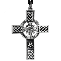 Small Celtic Knotwork Irish Cross Pewter Pendant Necklace