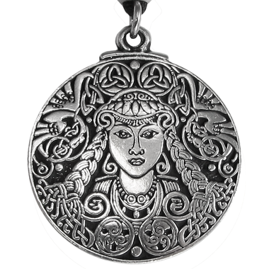 Large Brigid Celtic Goddess Pewter Pendant Necklace