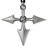Large Warrior Spear Pewter Pendant Necklace