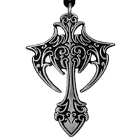 Large Gothic Vampire Cross Pewter Pendant Necklace