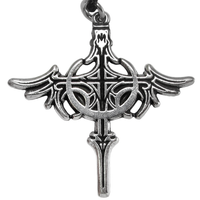 Pewter Crescent Moon Dragon Cross Necklace