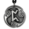 Pertho Rune of Luck Talisman Pewter Pendant Necklace