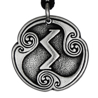 Sigel Sowilo Rune of The Sun Talisman Pewter Pendant Necklace