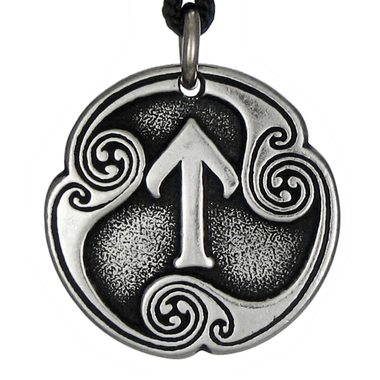 Tir Tiwaz Rune of Victory Talisman Pewter Pendant Necklace
