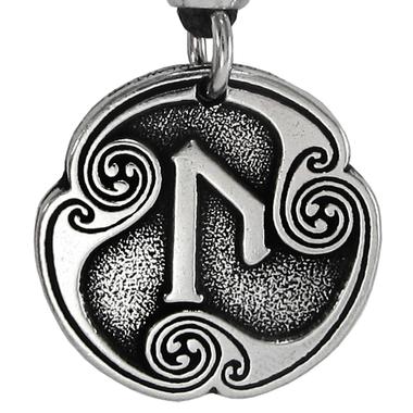 Pewter Uruz Rune of Attainment Necklace