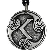 Ken Kenaz Rune of Passion Talisman Pewter Pendant Necklace